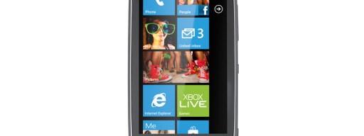 Nokia Lumia 610 front, homescreen