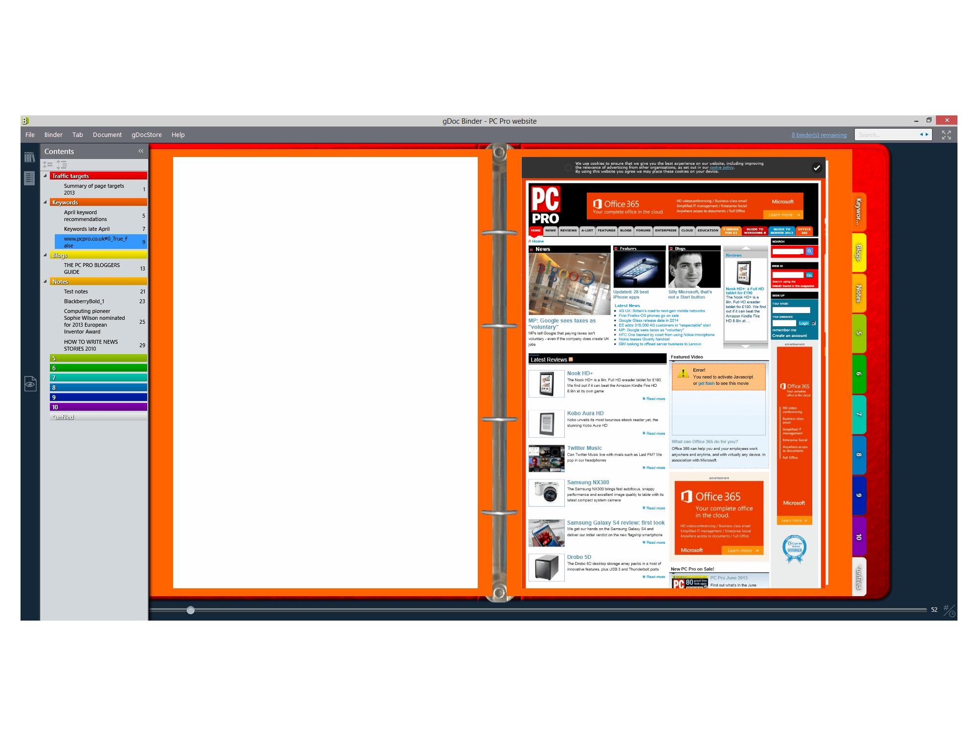 Virtual binder with tabs