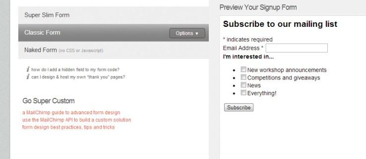 Create a mailing list in MailChimp