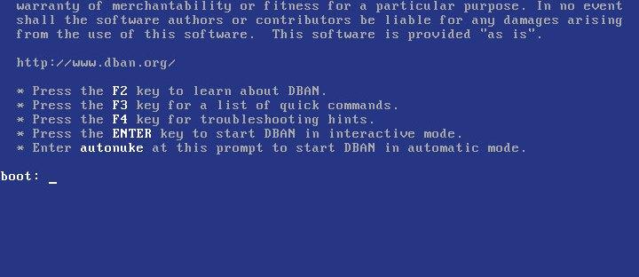 The DBAN interface reflects its no-nonsense design