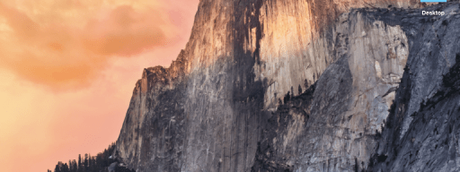 The OS X 10.10 Yosemite desktop has flatter icons, a flatter Dock and a new system font