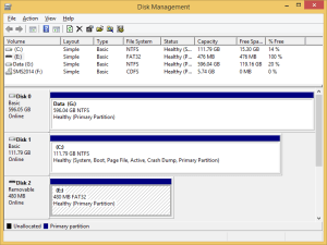 The Windows Disk Management console provides an overview of all attached drives
