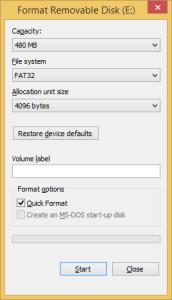 The standard Windows Format dialogue