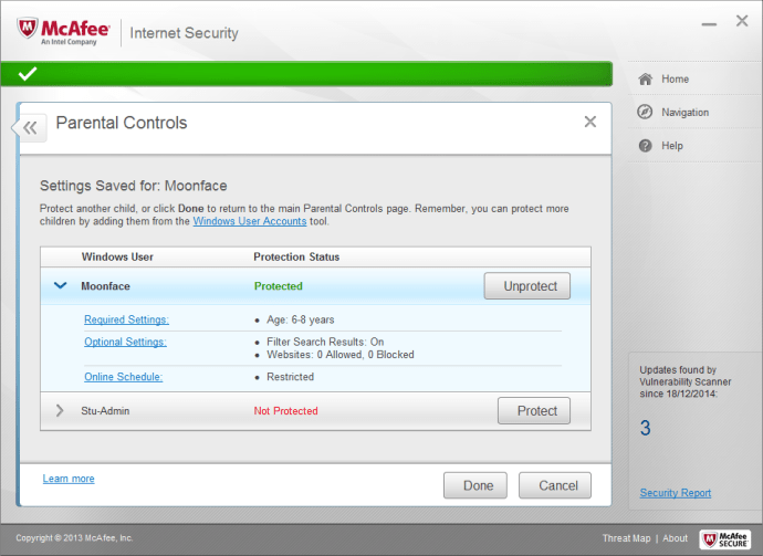 Mcafee Internet Security (2015) review - parental controls