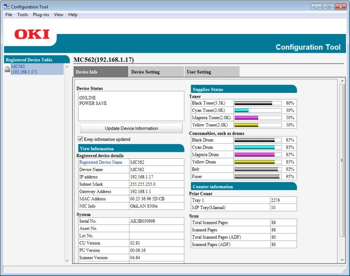 Oki MC562dnw review - software configuration tool