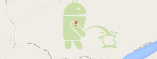 Android robot Google Map prank