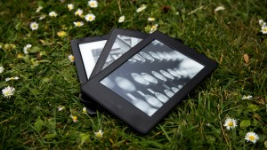 Amazon Kindle Paperwhite (2015) alonside the Kobo Glo HD and Amazon Kindle Voyage e-readers