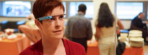 Google Glass being worn at Future Health 2013.