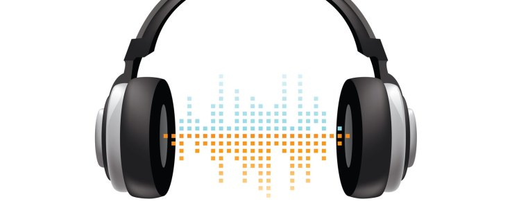 Headphones floating in space with blue and orange squares between the drivers