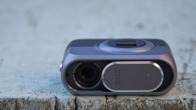 DxO One review: To switch on the DxO One, slide the lens cover down