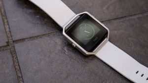 FitBit Blaze watch face and white strap