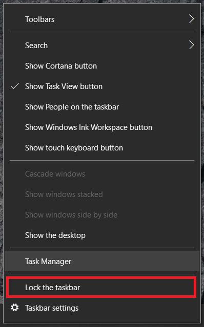 Menú de la barra de tareas de Windows 10