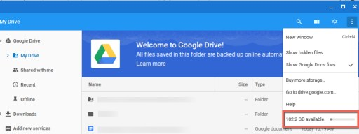 Google Drive space avail