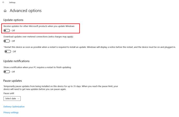 Windows Update menu - Advanced