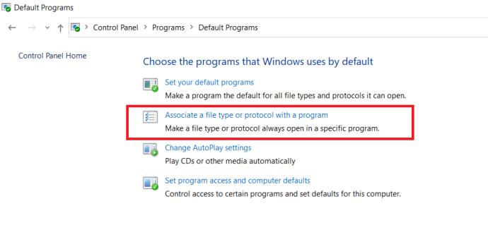 Control Panel - Default Programs