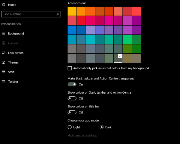 How to configure a transparent Taskbar in Windows 10-3