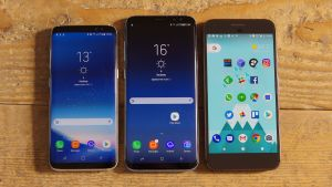 Samsung Galaxy S8, S8 Plus and Google Pixel XL (L to R)