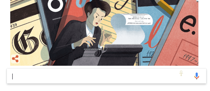 Clare Hollingworth, the trailblazing journalist who broke news of World War 2, is celebrated in today's Google Doodle