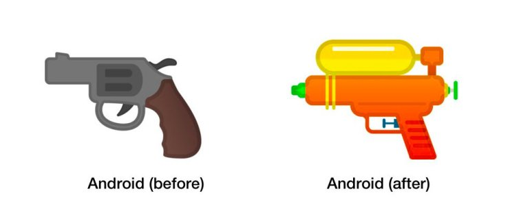 Google follows Apple, Twitter and Samsung in changing gun emoji to water pistol