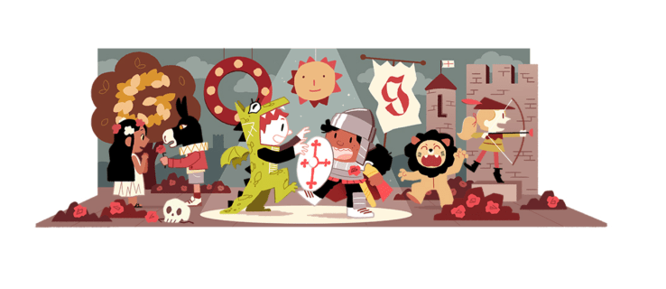 Happy St. George's Day! Google marks the occasion with a colourful doodle showing George and the dragon