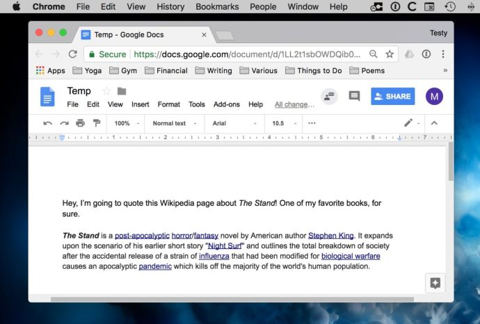 Pasted Text in Google Docs