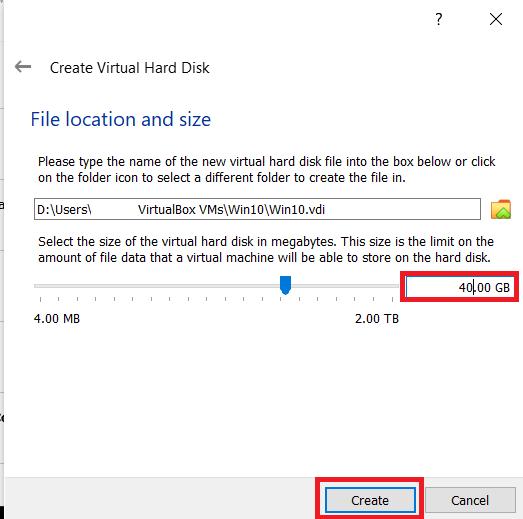 VirtualBox creation menu 5