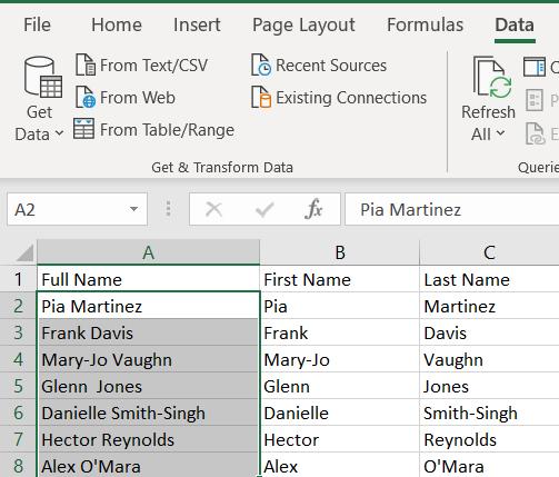 Excel worksheet