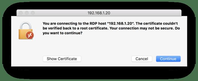microsoft remote desktop mac certificate warning