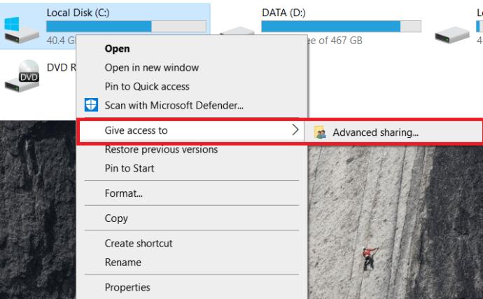 Windows Drive menu