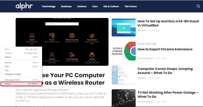 Chrome Web menu