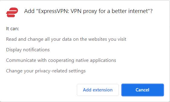 ExpressVPN Chrome Store Permissions
