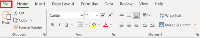 Menú superior de Excel 2