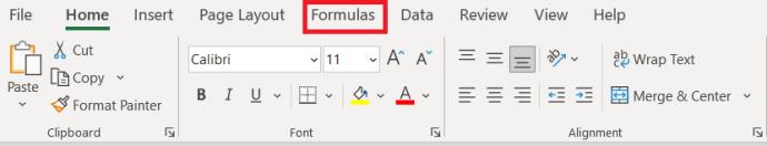 Menú superior de Excel