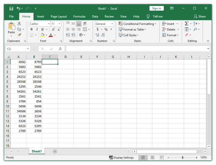 Two Cells in Excel Contain the Same Value