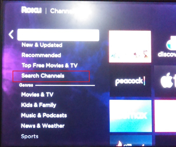 Roku Channels Menu