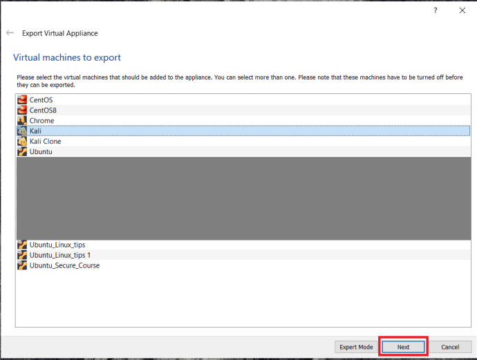 VirtualBox Export Menu