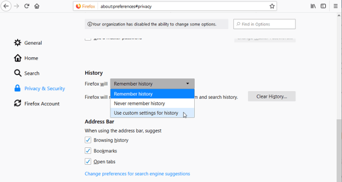 delete browsing history on firefox