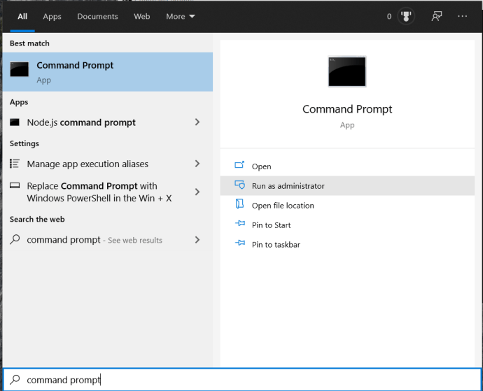Start Menu - Command Prompt