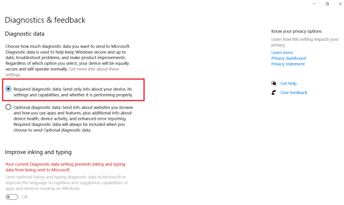 Windows Diagnostic and feedback menu 2
