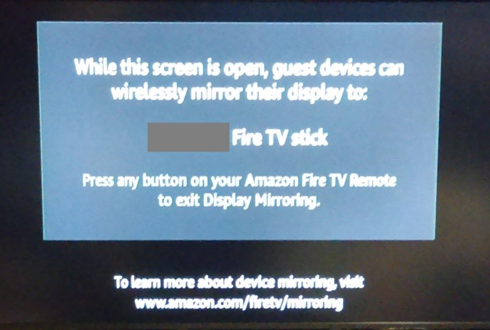 Fire TV Stick Mirroring page