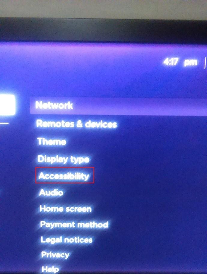 Roku settings option