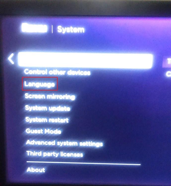 Roku settings page for language