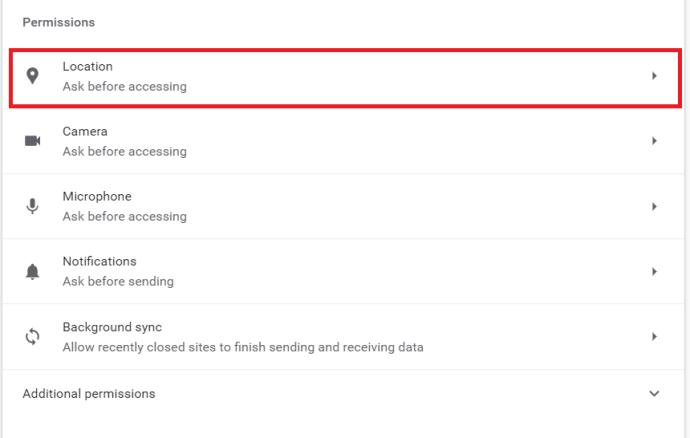 Configuración de ubicación de Chrome