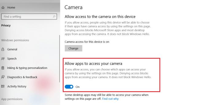 Windows 10 Camera Settings
