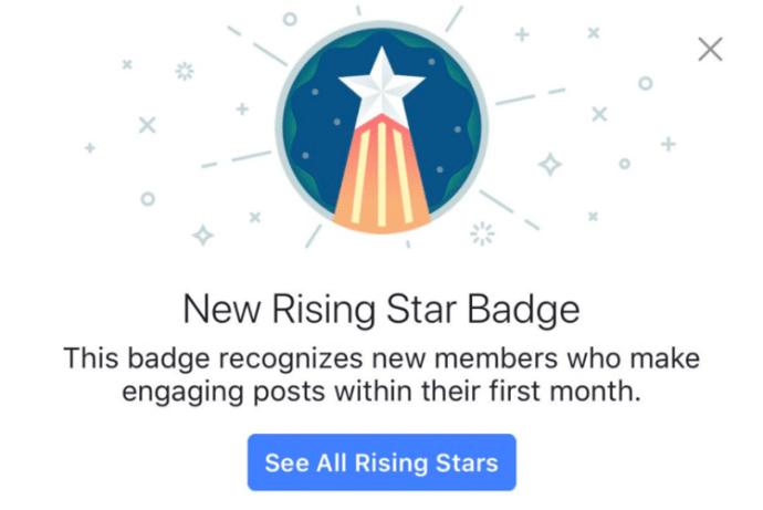 facebook badges Rising Star