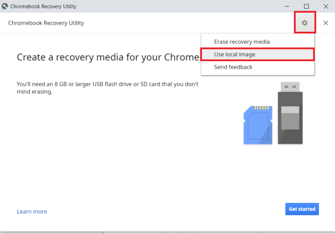 Chromebook Recovery Utility Settings