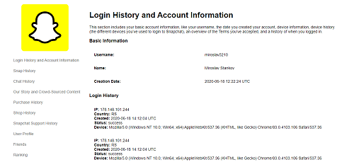 login history and account information