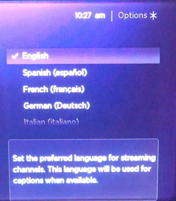 Roku Language menu