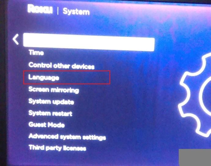 Roku System menu