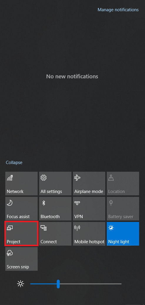 Windows 10 Action Center Expanded View